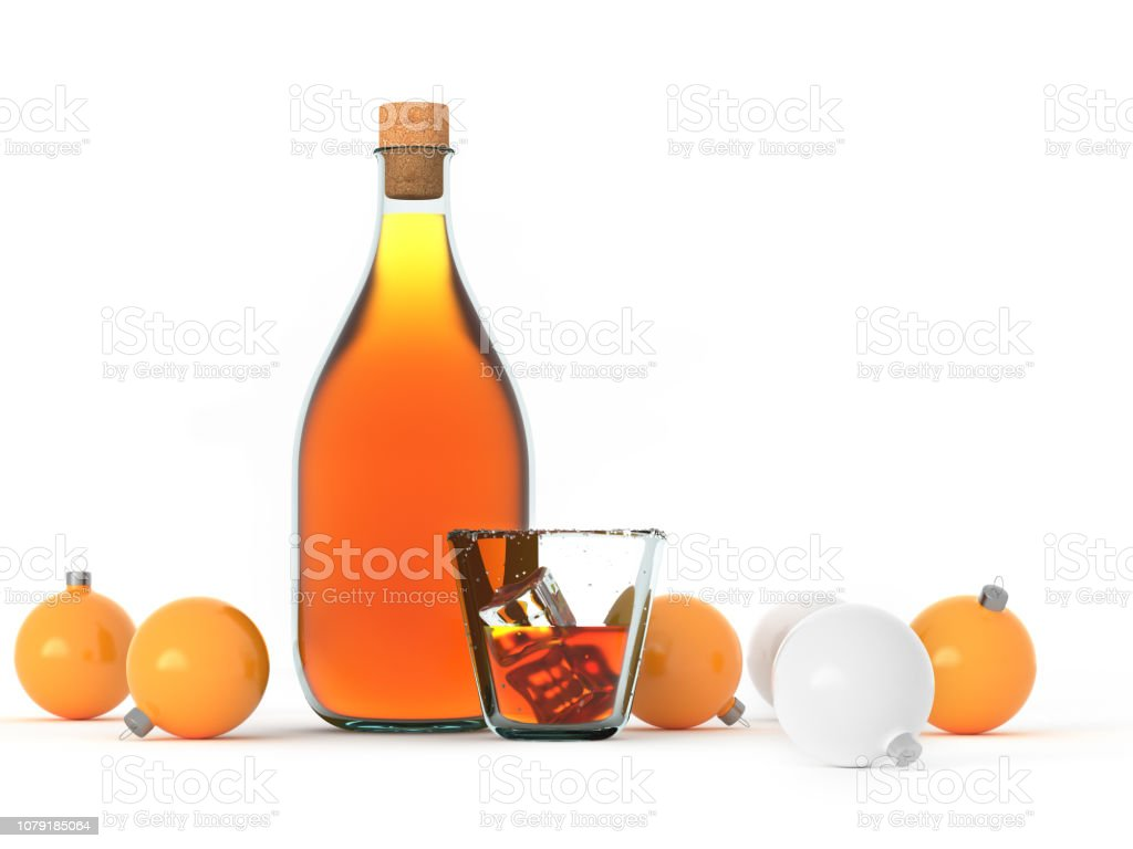 Beverages. Bottle blank template. Drink and ice cubes. Christmas balls. stock photo