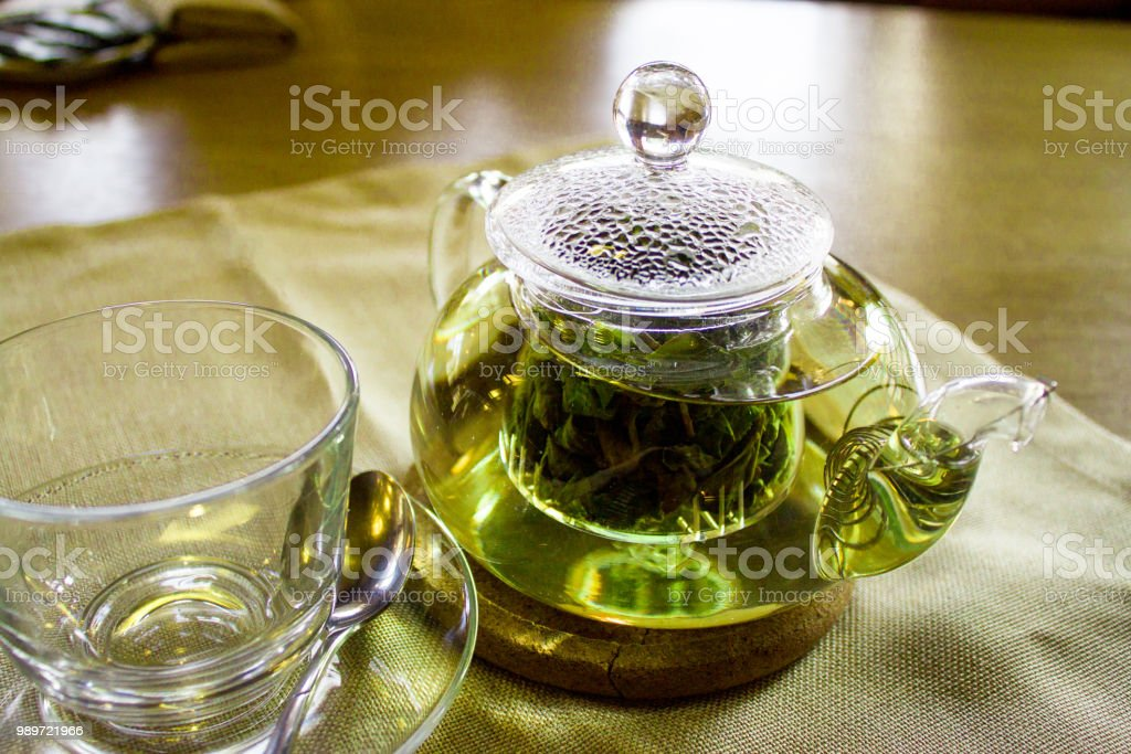 Beverages Good Morning And Breakfast Concept Empty Tea Cup And Teapot With Green Tea On The Table Stock Photo Download Image Now Istock