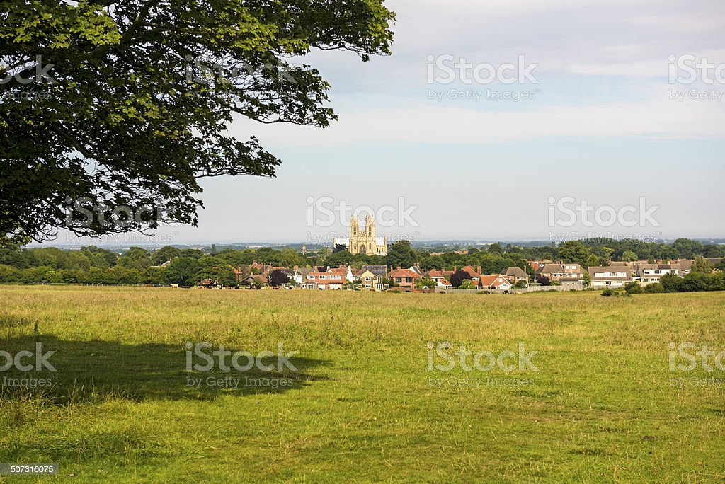 Beverley Minster across the Westwood stock photo