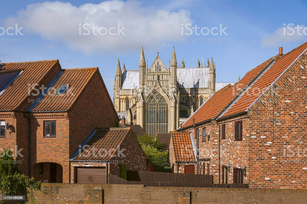 Beverley Minster and town houses, Beverley, Yorkshire, UK. stock photo