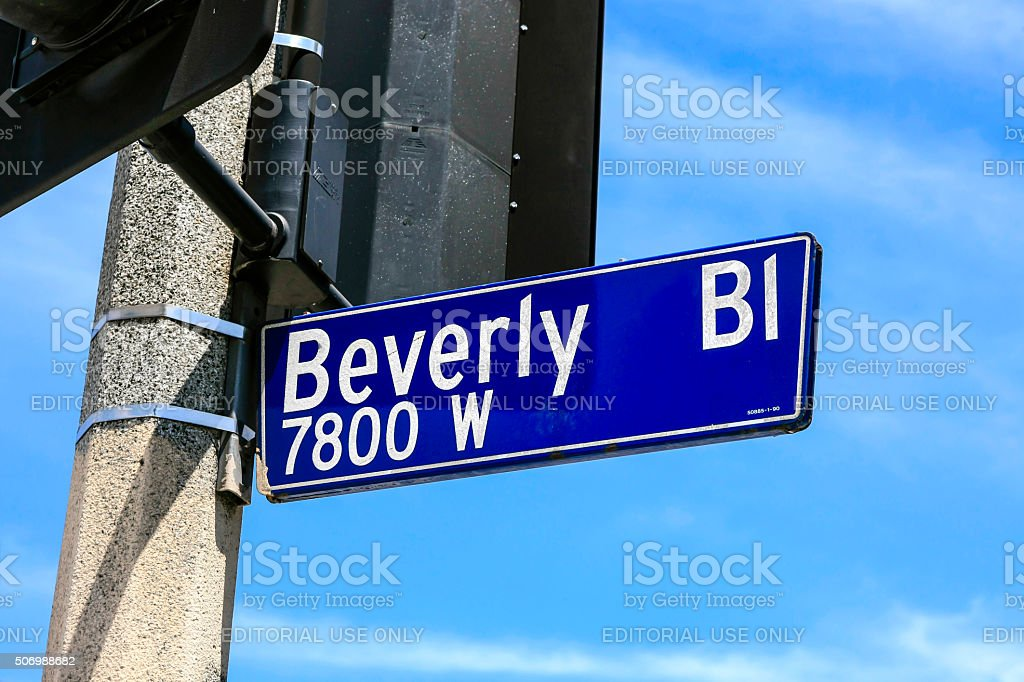 Beverly Bl 7800W street sign in Los Angeles CA stock photo