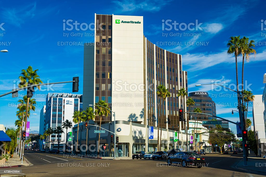 Beverly Hills' Golden Triangle at Wilshire and Santa Monica boulevards stock photo