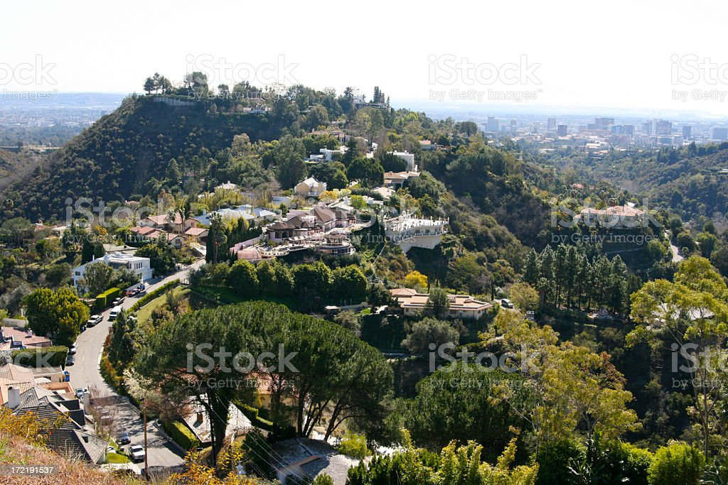 Beverly Hills Homes Mansions Wealthy Sociey Stock Photo