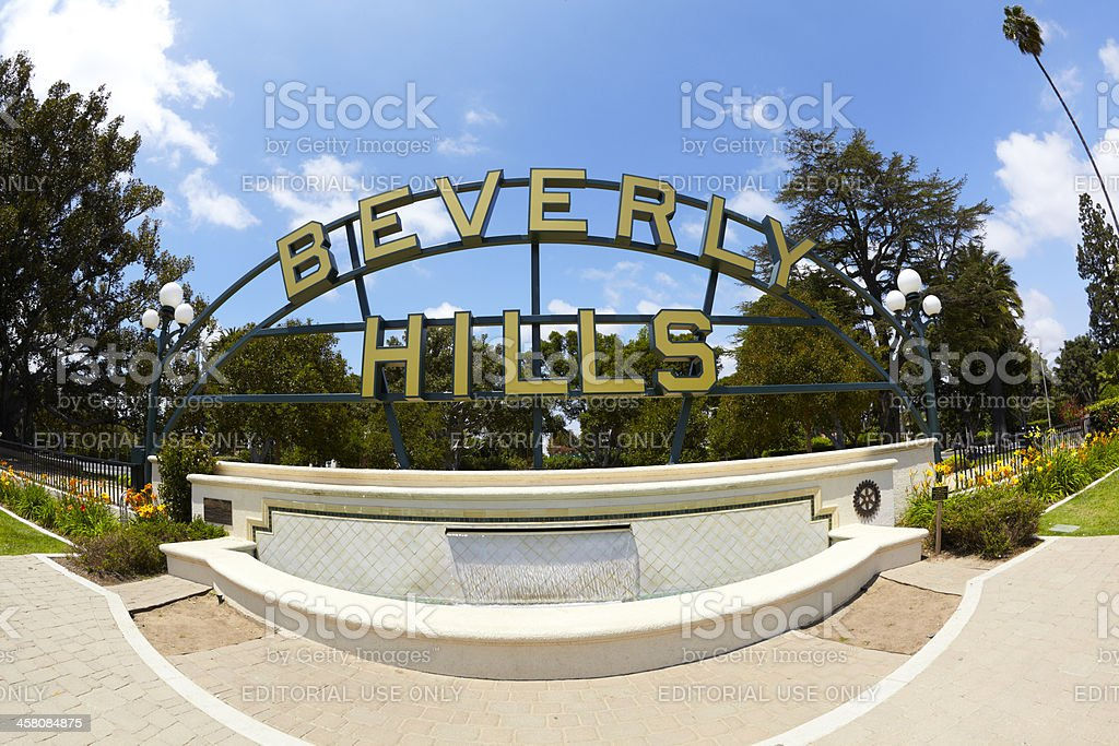 Beverly Hills Park Fountain and Sign stock photo