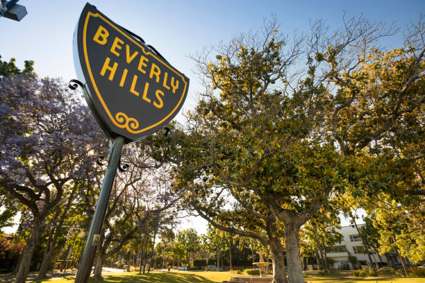 Beverly Hills Shield street sign in California USA stock photo