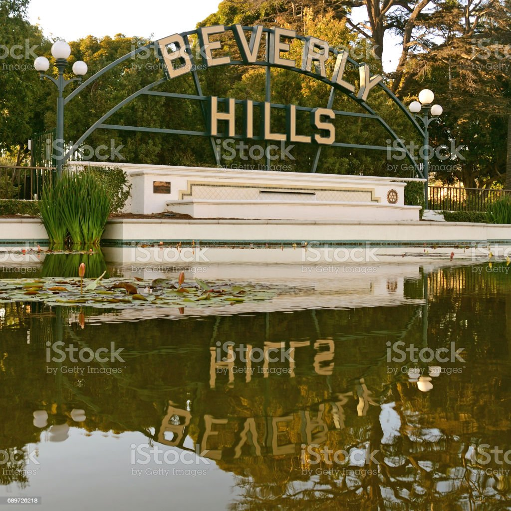Beverly Hills Sign and it's reflection in water stock photo