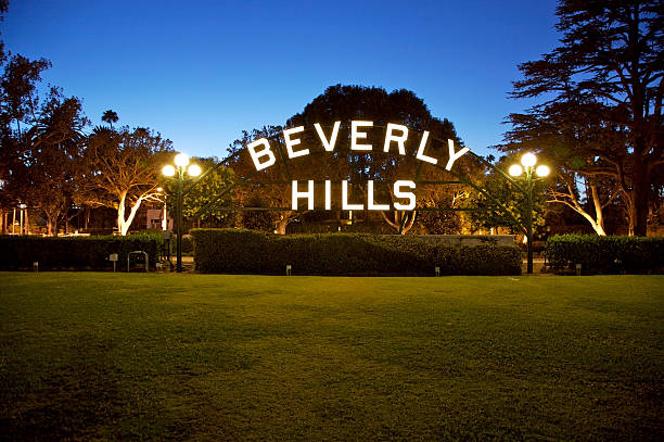 Beverly Hills sign in California A shot of Beverly Hills sign hollywood california stock pictures, royalty-free photos & images