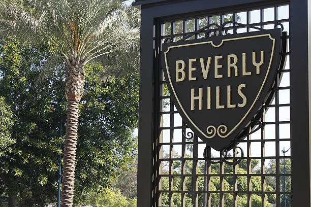 Beverly Hills Sign in California Beverly Hills, California, USA - October 26, 2013: City of Beverly Hills sign. The sign depicts the logo of the wealthy city within the borders of Los Angeles. sunset strip stock pictures, royalty-free photos & images