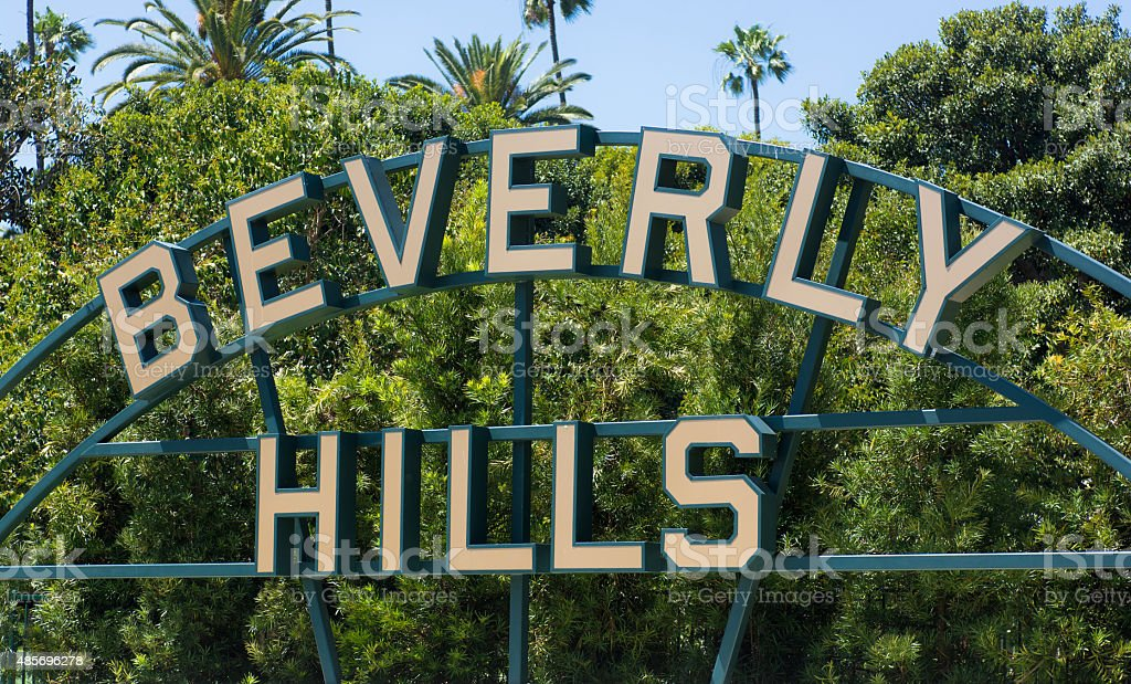Beverly Hills sign in Los Angeles County of California stock photo