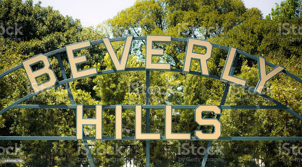 Beverly Hills sign in Los Angeles County of California. stock photo