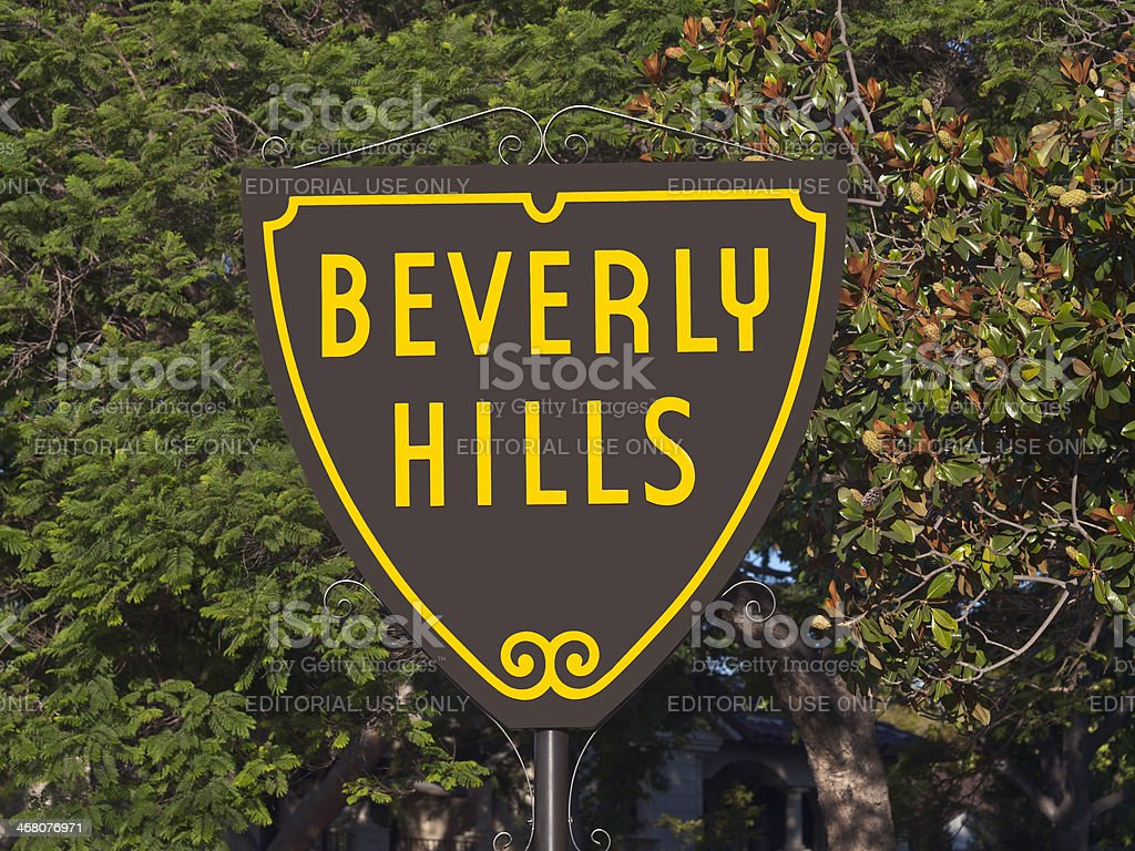 """Beverly Hills Sign """"Beverly Hills, California, USA - September, 4th 2010:  The world famous Beverly Hills Shield sign in bright morning light."""" Beverly Hills - California Stock Photo"""