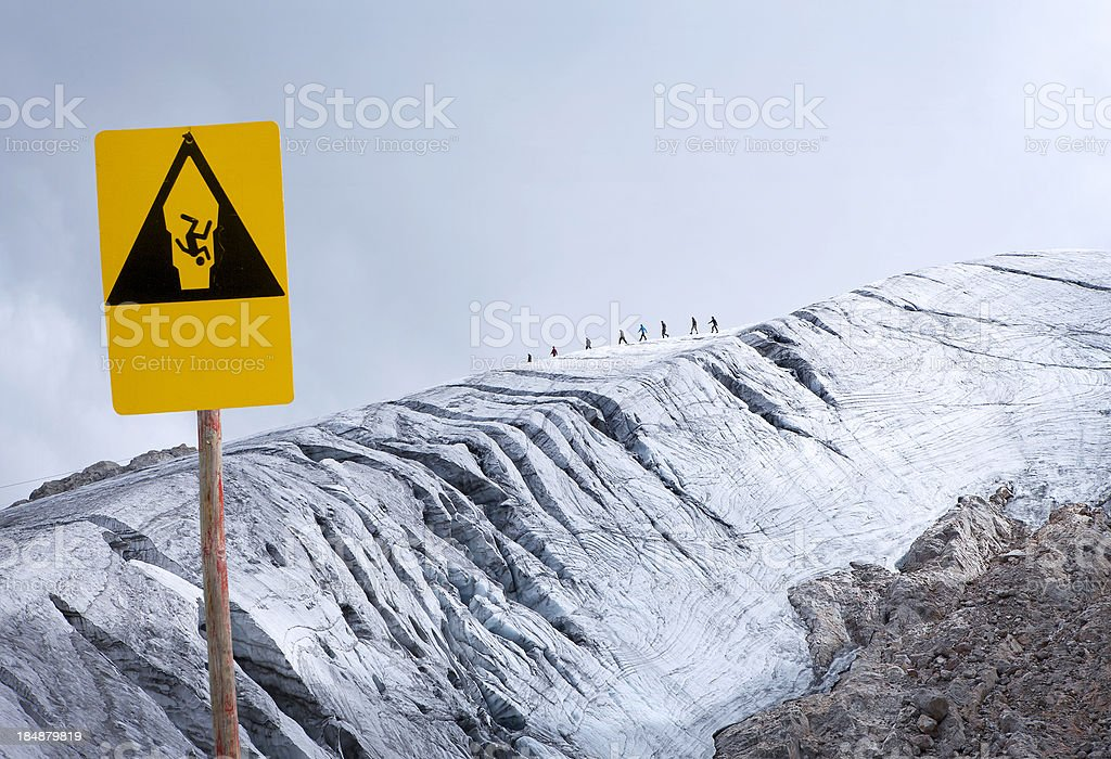 Beware of crevasses royalty-free stock photo