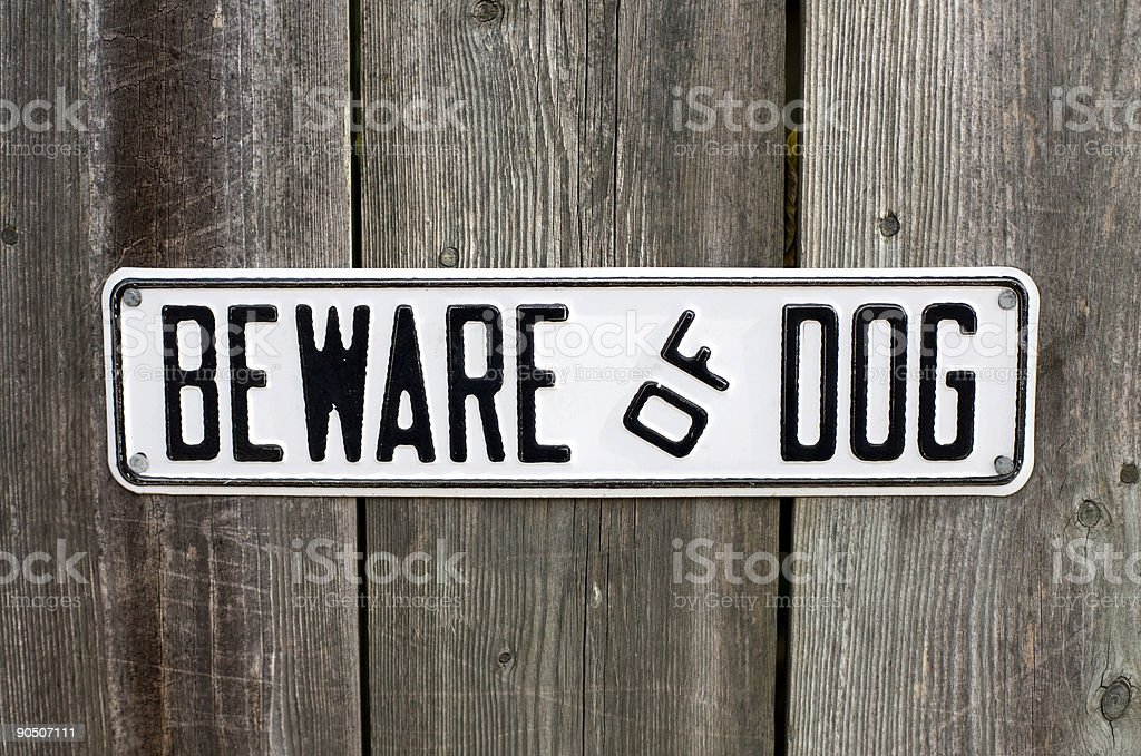Beware Of Dog Sign royalty-free stock photo