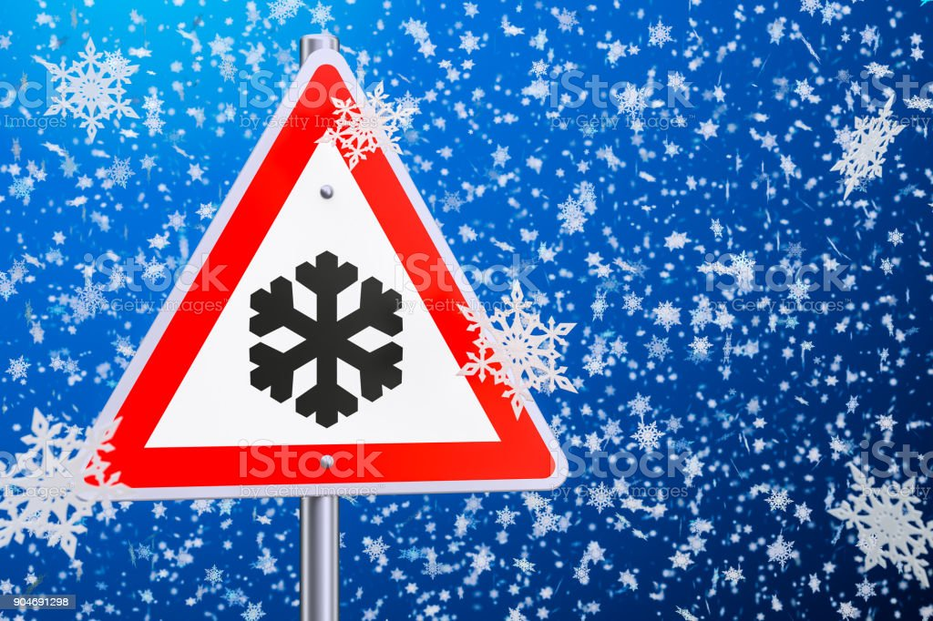 Beware of ice or snow, road sign. 3D rendering stock photo