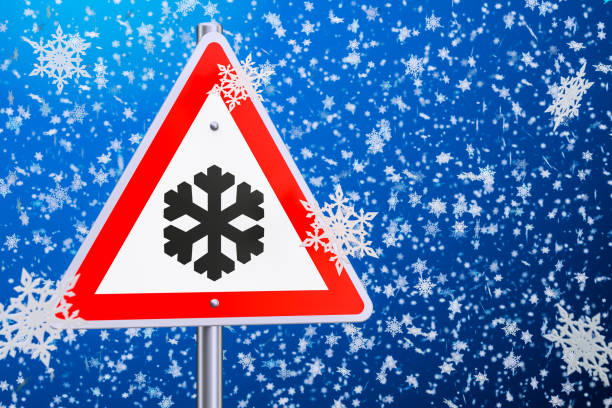 beware of ice or snow, road sign. 3d rendering - weather stock photos and pictures