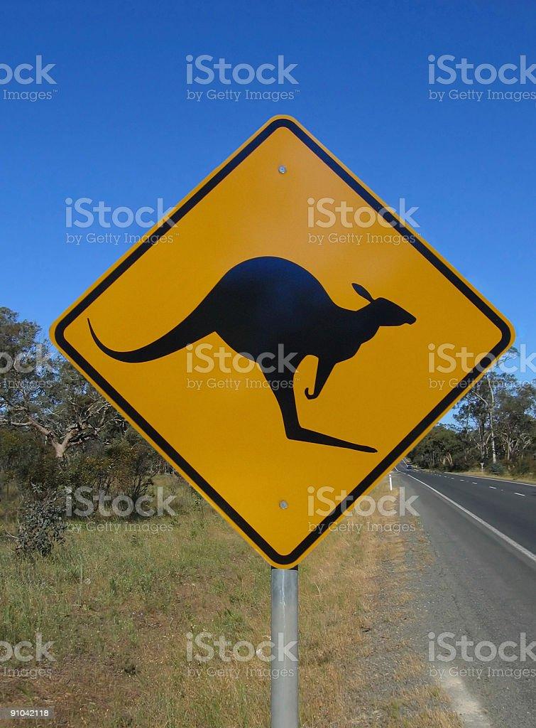Beware of kangaroos royalty-free stock photo