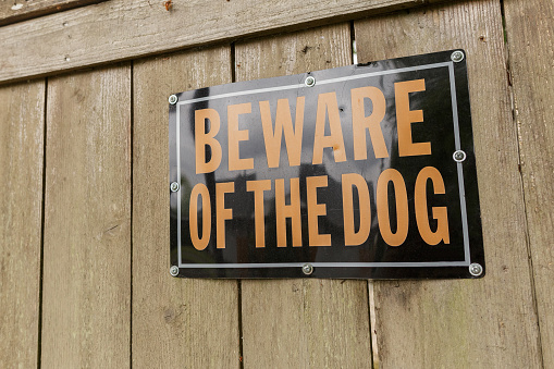 Beware of the Dog Sign on the Wooden Fence