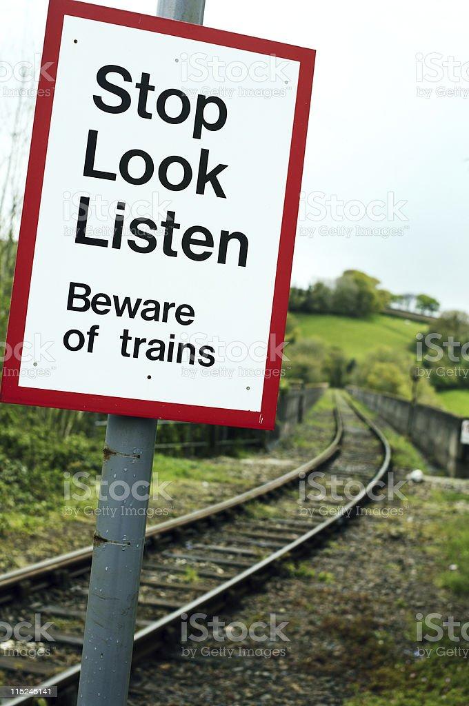 Beware of train railway sign royalty-free stock photo
