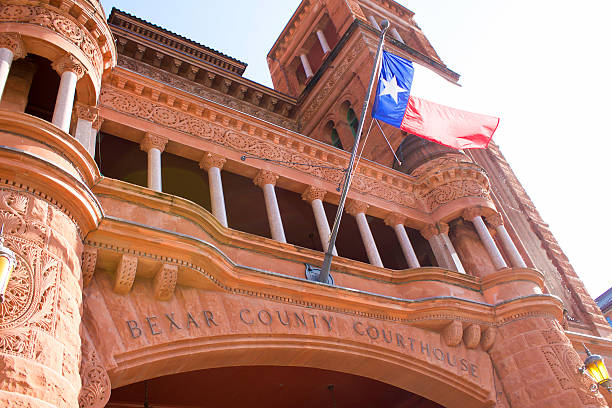 Bexar County Courthouse with Waving Texas Flag stock photo