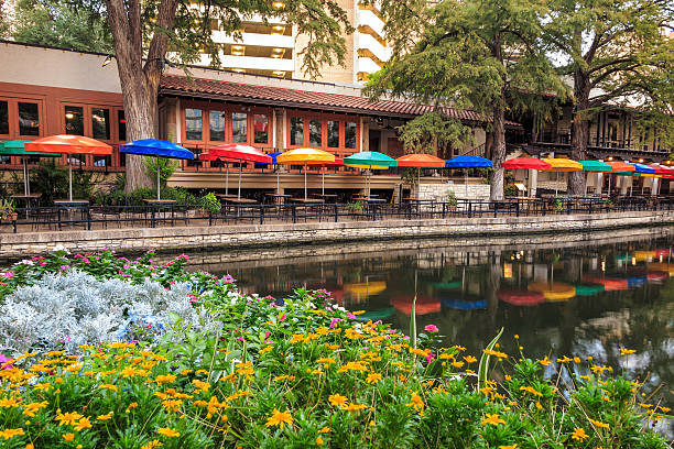 Bexar County District Court in San Antonio SAN ANTONIO, TEXAS, USA - SEP 27: Section of the famous Riverwalk on September 27, 2014 in San Antonio, Texas. A bustling place with many restaurants and bars. san antonio texas stock pictures, royalty-free photos & images