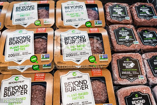istock Beyond Burger and Beyond Beef packages 1203604272