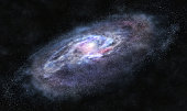 A picture of massive galaxy with bright spiral arms