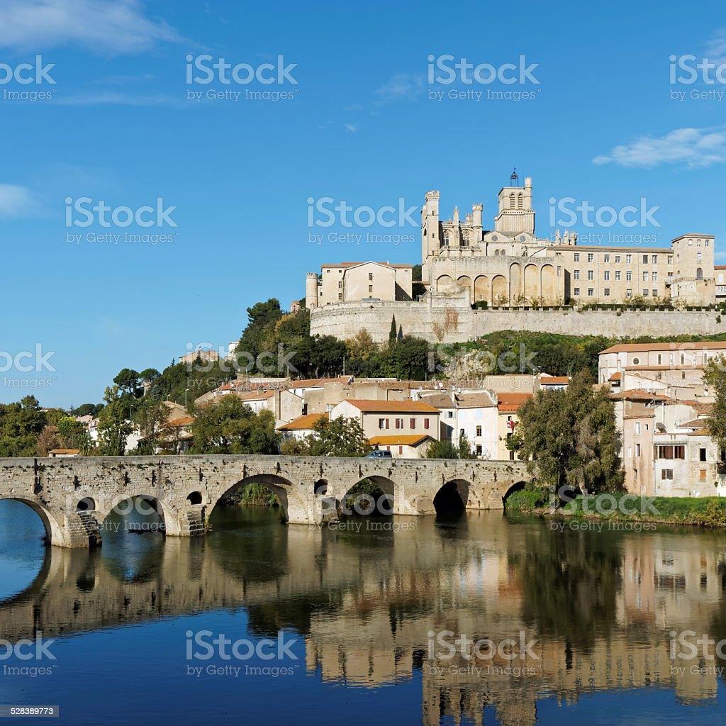 Beziers in autumn, France stock photo