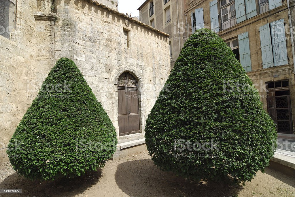 Beziers (France) - Old church and two trees royalty-free stock photo