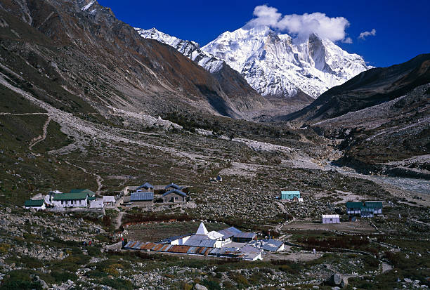 Bhagirathi Peak in the Himalayas Garhwalu. stock photo