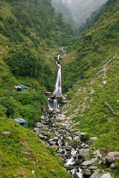 Bhagsu Waterfall near McLeodGanj, Dharamsala, India. stock photo