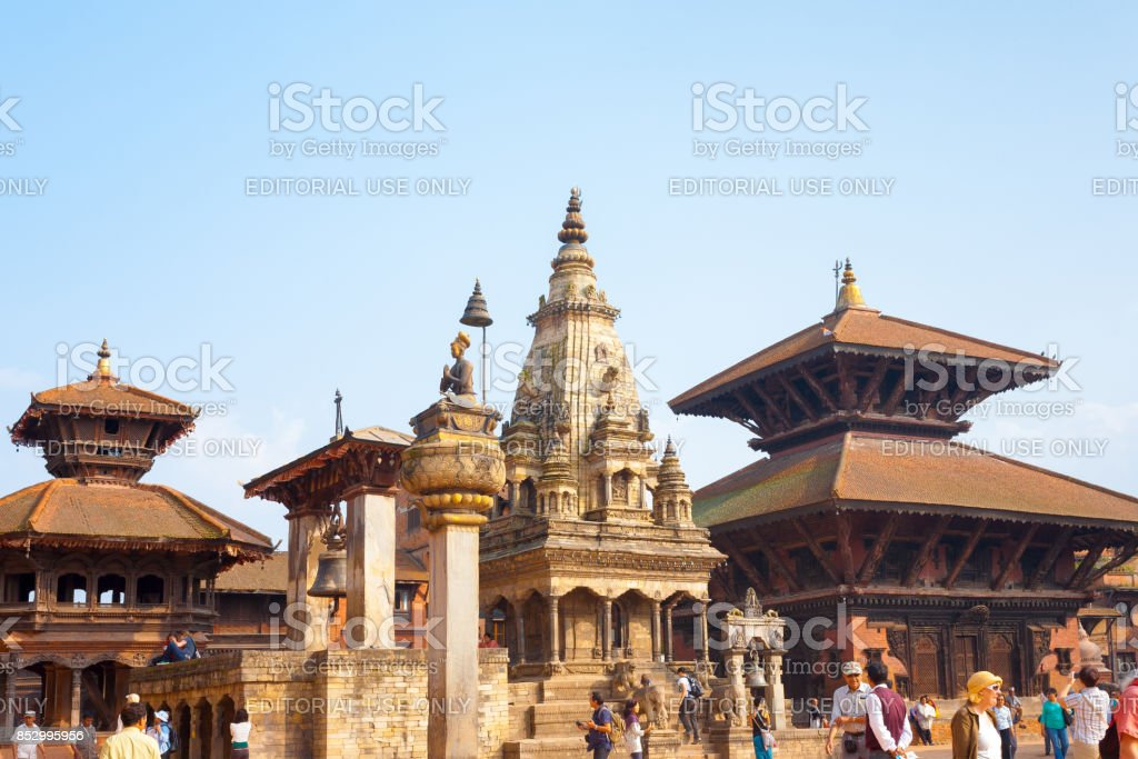 Bhaktapur Durbar Square Vatsala Durga Angled H stock photo