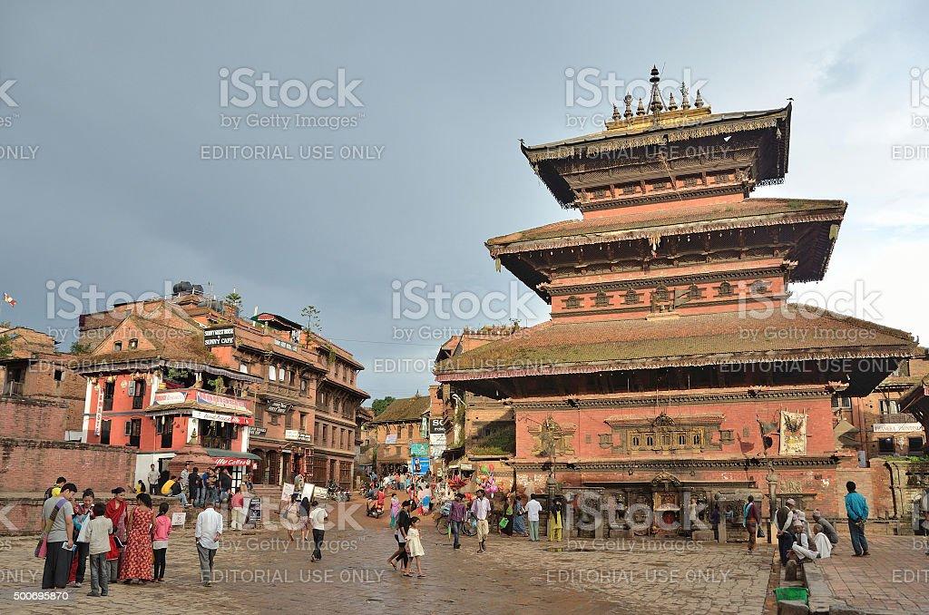 Bhaktapur,Nepal, tourists walking on ancient Durbar square stock photo