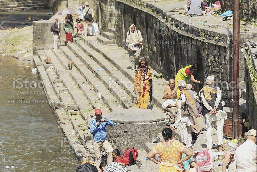 Bhatta priests-hindu sadhus-faithfuls. Bagmati river-Deopatan-Kathmandu-Nepal. 0289 stock photo