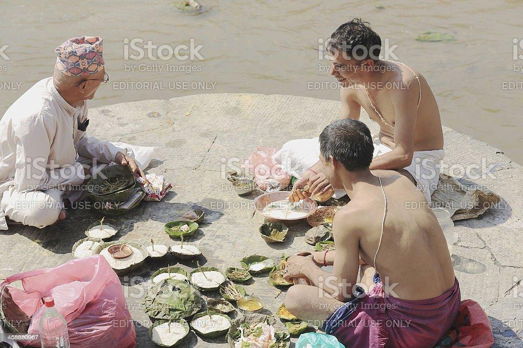 Bhatta priests-nepali faithful man-Pashupatinath temple. Deopatan-Kathmandu-Nepal. 0280 stock photo