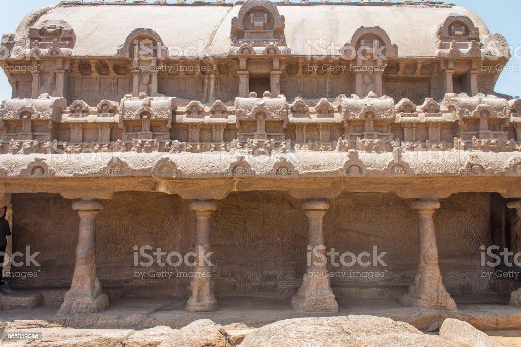 Bhima Ratha, Five rathas, Mahabalipuram, Tamil Nadu, India stock photo
