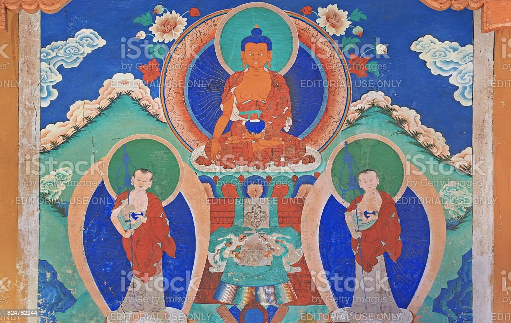 Bhudda wall paint at Likr Monastery, Leh India stock photo