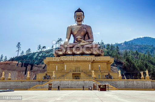 Buddha Dordenma is height 51.5 metres and it is made of bronze and gilded in gold.