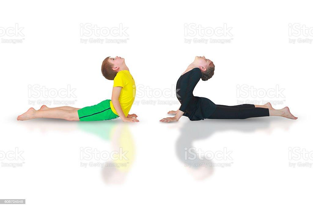 bhudzhangasana yoga stock photo