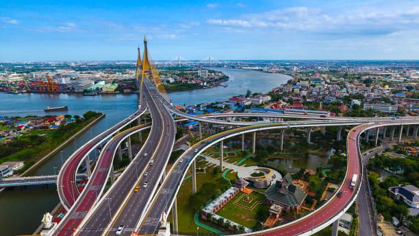 Bhumibol Bridge BANGKOK stock photo
