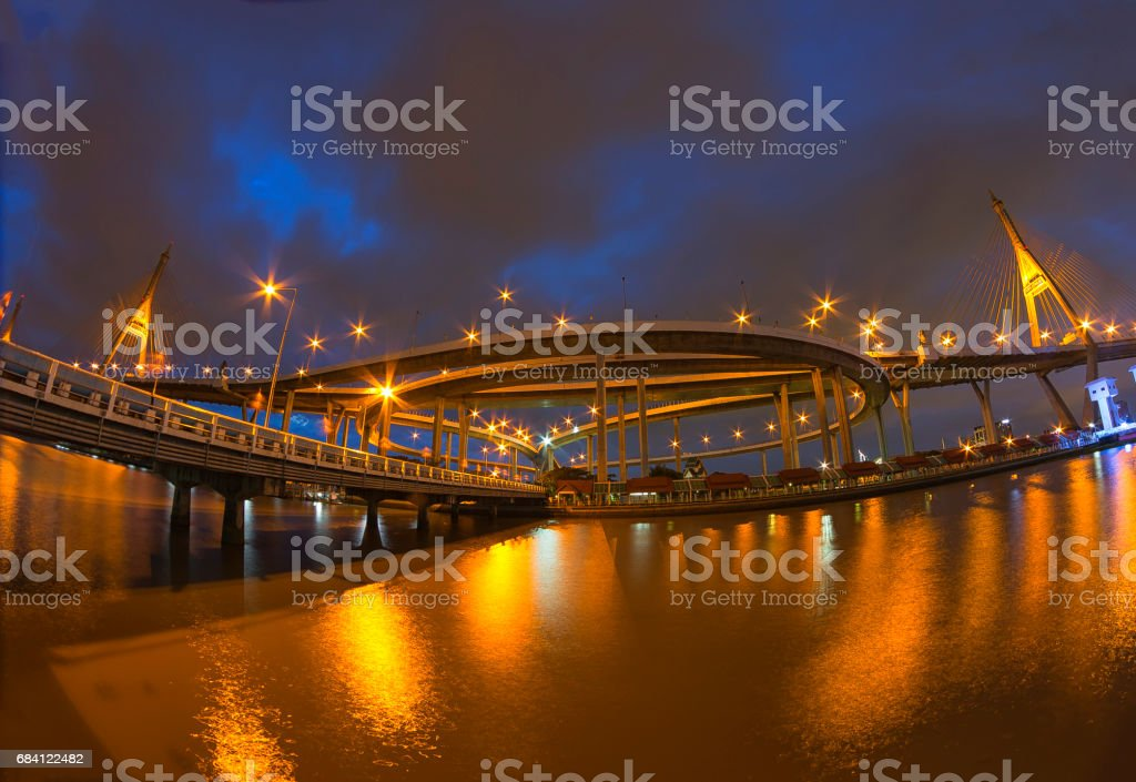 Bhumibol Bridge Bangkok foto stock royalty-free