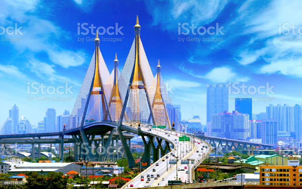 Bhumibol Bridge BANGKOK - foto stock