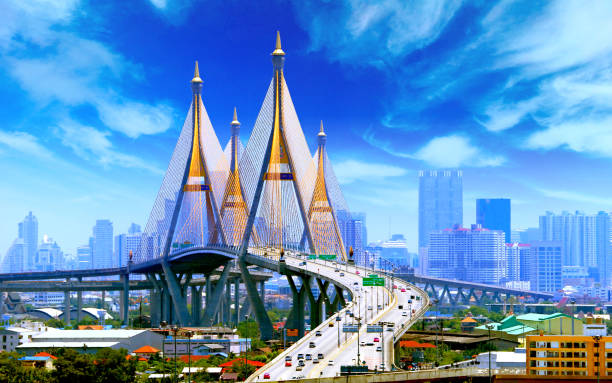Bhumibol Bridge BANGKOK stock photo