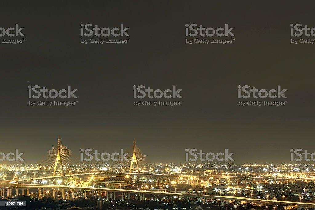 Bhumibol Bridge  Bangkok Thailand stock photo