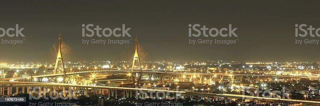 Bhumibol Bridge Bangkok, Thailand stock photo