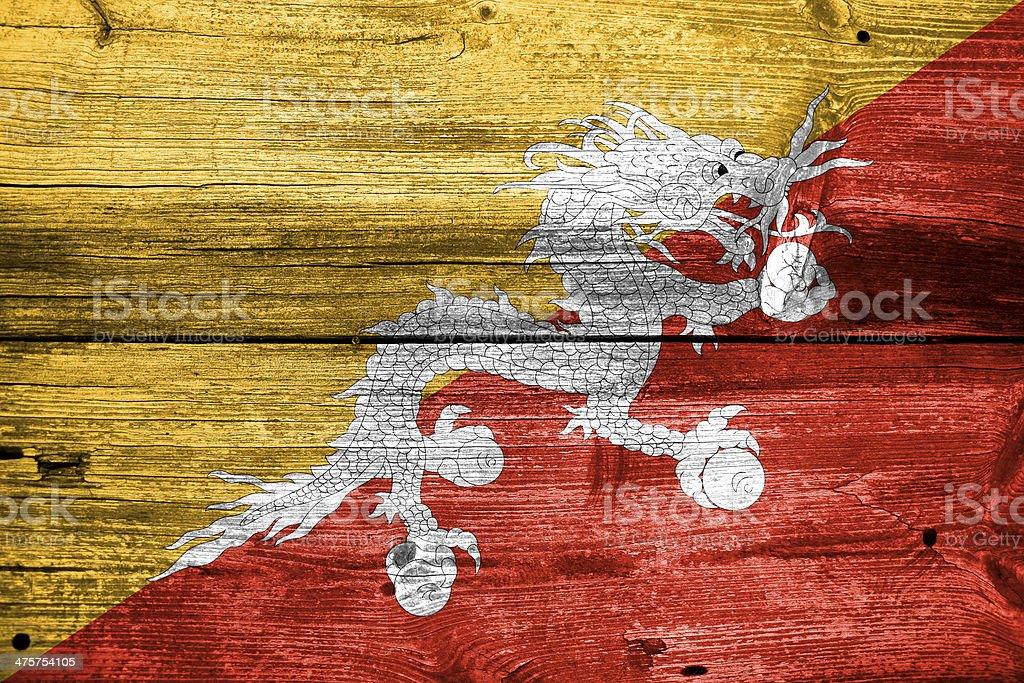 Bhutan Flagge Gemalt Auf Alten Holz Plank Struktur Stockfoto Und