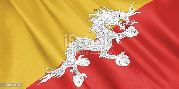 1056280906 istock photo Bhutan flag waving with the wind, wide format, 3D illustration. 3D rendering. 1056276290