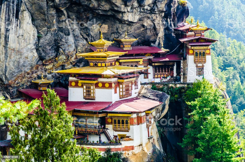 Bhutan, Paro, Taktshang -Lhakhang Monastery, also known as Tiger's Nest. stock photo