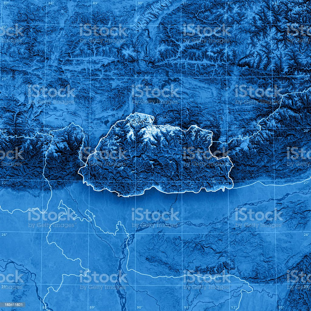 Bhutan Topographic Map stock photo