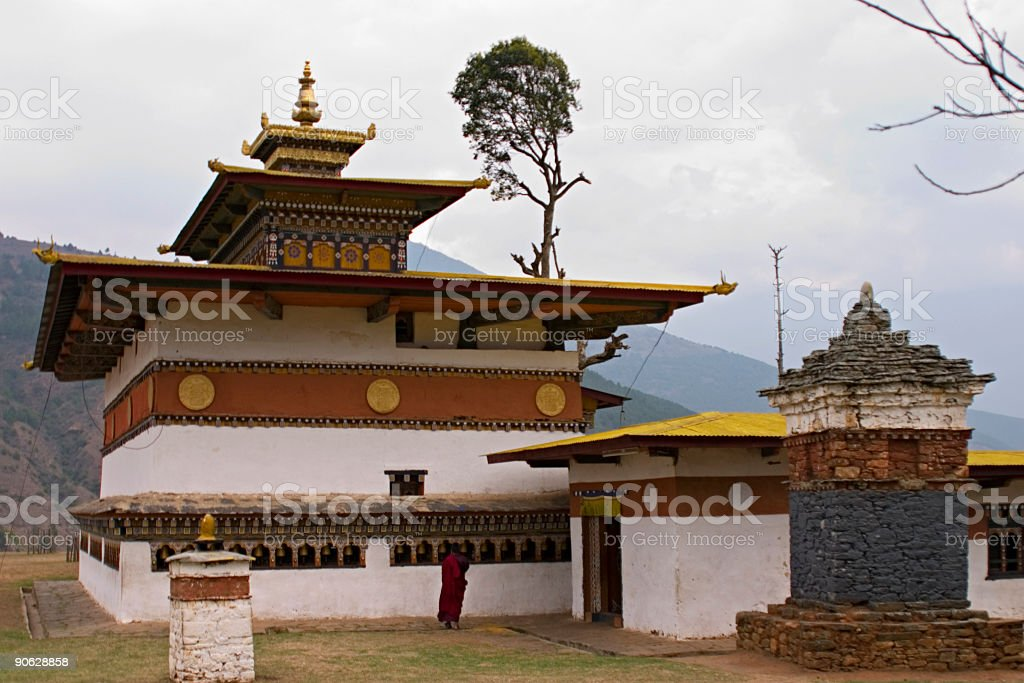 Bhutan - Traditional Monastery Architecture royalty-free stock photo