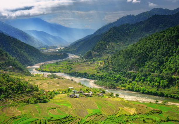 Bhutan valley and rice farms Valley in Bhutan near Punakha with rice fields and typical houses. Travel to Bhutan and enjoy the beautiful landscape of farms and mountains in this buddhist country. valley stock pictures, royalty-free photos & images